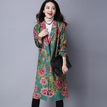 2018 New Autumn Winter Retro Folk Oversized Female Jaqueta Long Style Floral Printed Velvet Womens Trench Loose Fit Outwear Coat