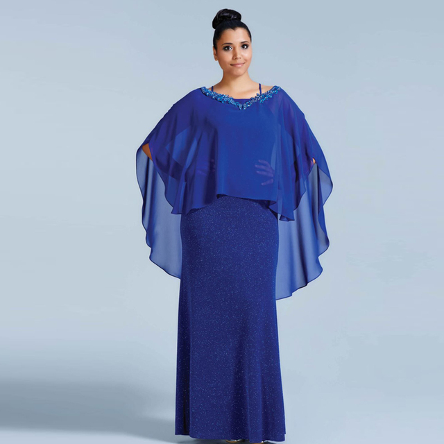 2b66279545b 2017 Royal Blue Plus Size Mother of the Bride Dresses With Jacket Chiffon  robe mere de la mariee Evening Dresses Mother Groom