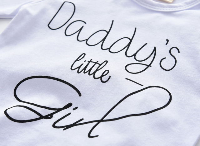 3Pcs Infant Clothing Set Newborn Baby Girls Clothes Long Sleeve Letter Daddy's little Girl T-shirt+Pants+Headband Toddler Outfit