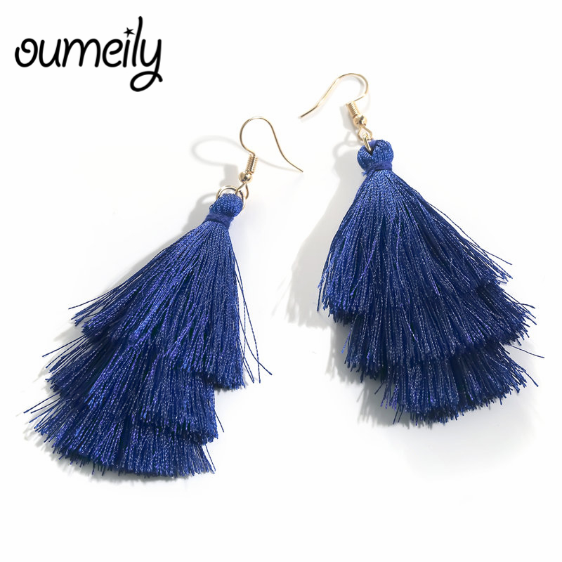 OUMEILY Drop Earrings Long Layered Statement Tassel Earrings Blue Color Bohemian Women Cheap Wedding Jewelry Earring