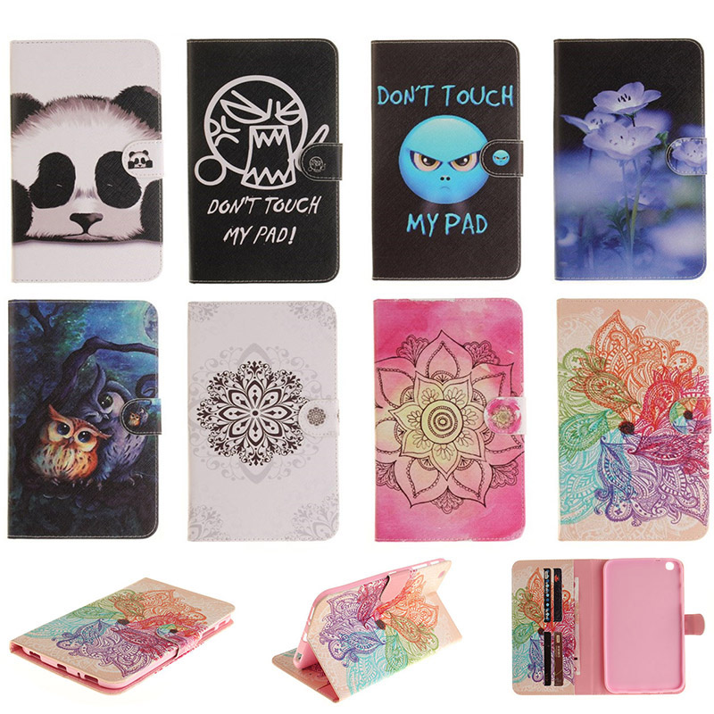For Samsung Galaxy Tab 3 8.0 SM-T310 SM-T311 Case Fashion Flower Panda Owl PU Leather Flip Wallet Tablet Back Cover Capa DP00E