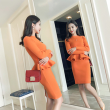 Tracksuits Direct Selling 2018 Spring New Women's Knit Suit Dress Ladies Fashion Sweater Package Hip Skirt Two-piece Female