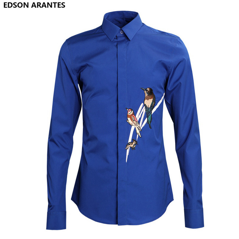 e7a65cb99eae EDSON ARANTES New Magpie embroidery Men s Shirt Summer Shirt Men Long Sleeve  Casual High Quality Cotton