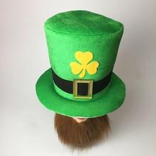 ee25d5600c279 Hot Men Engraçado Barba Cap Patchwork Irlandês Trevo Chapéu Do Duende Verde  Top Carry Saint Patrick
