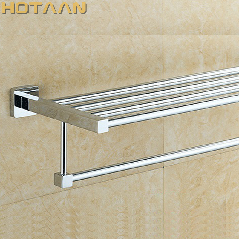 HOT SELLING, FREE SHIPPING, Bathroom towel holder, fashion Square towel rack,60cm Stainless steel  towel rack YT-4016