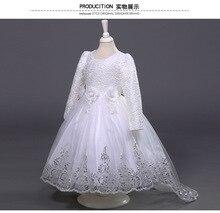 Европа и соединенные Штаты летом девушка крючком с длинными с длинными рукавами платье девушки цветка цветок хвост платье принцессы ребенок платье 2-12 т