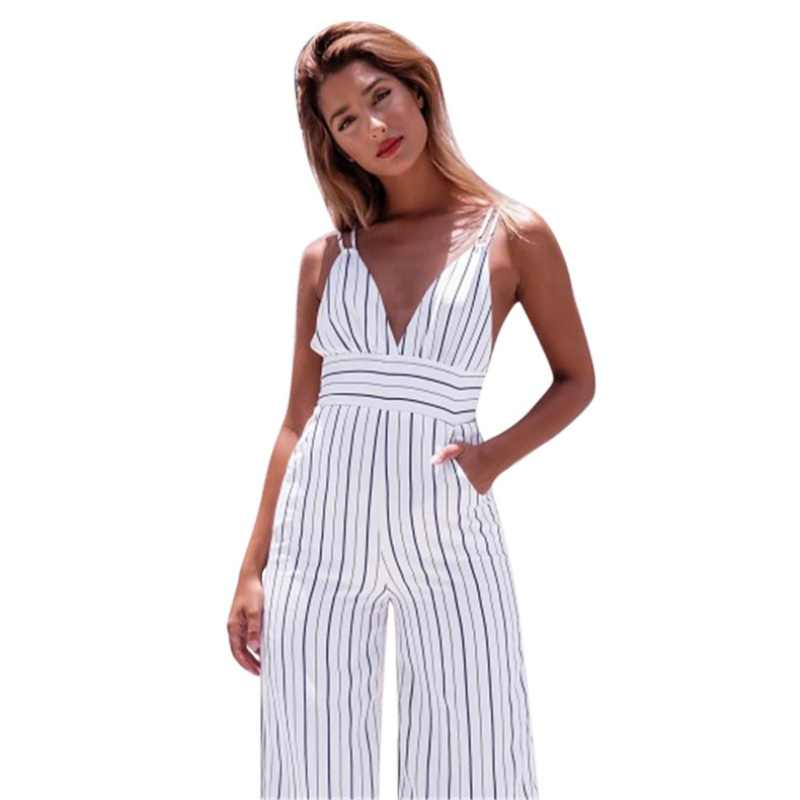 18c060849 Detail Feedback Questions about 2019 Sexy Women V Neck Sleeveless Jumpsuits  Wide Leg Long Pants Sexy Striped Rompers Women's Overalls Casual Straps ...