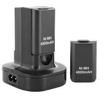AMS estación de carga Dual con 2 uds., batería recargable de 4800Mah, luz Led de carga para mando de Xbox 360, enchufe europeo