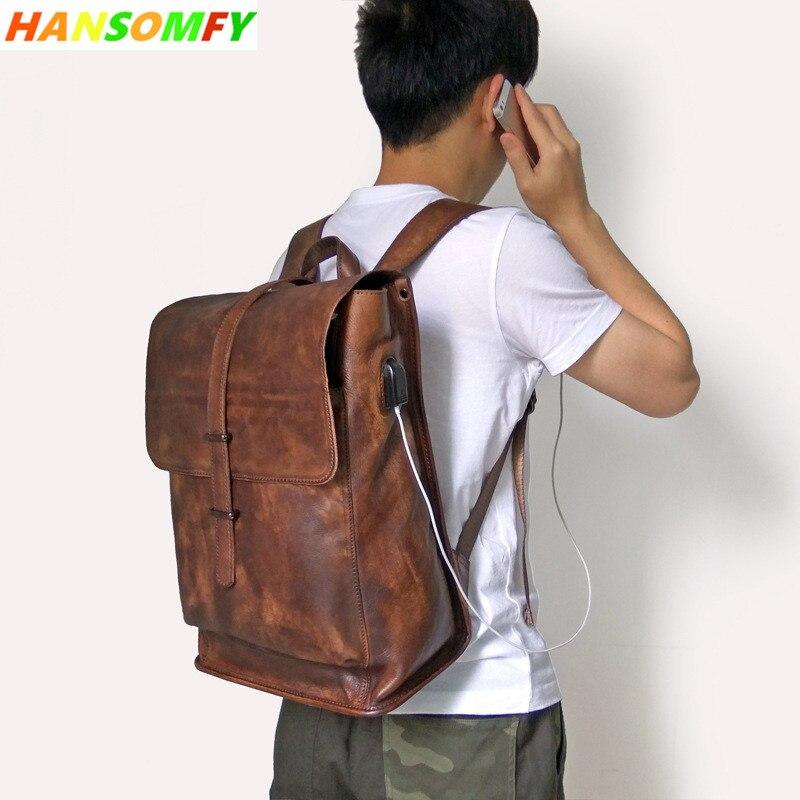 Luxury Genuine Leather USB Charging backpacks men Vintage Laptop bags business travel Fashion school Zipper backpack bag