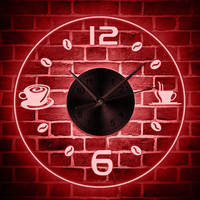 Coffee Design Color Changing Wall Clock Modern Coffee Bean LED Wall Light LED Hanging Wall Watch Coffee Cup Led Acrylic Clock