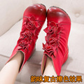 new arrival women 2016 winter warm fashion genuine leather handmade flower shoes short boots female motorcycle botas YKA003