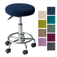 2019 Modern Round Chair Cover Bar Stool Cover Elastic Seat Cover Home Chair Slipcover Solid color Chair Bar Stool One size walnut bentwood adjustable height barstool chair w button tufted black vinyl seat bar furniture modern leather bar chair stool