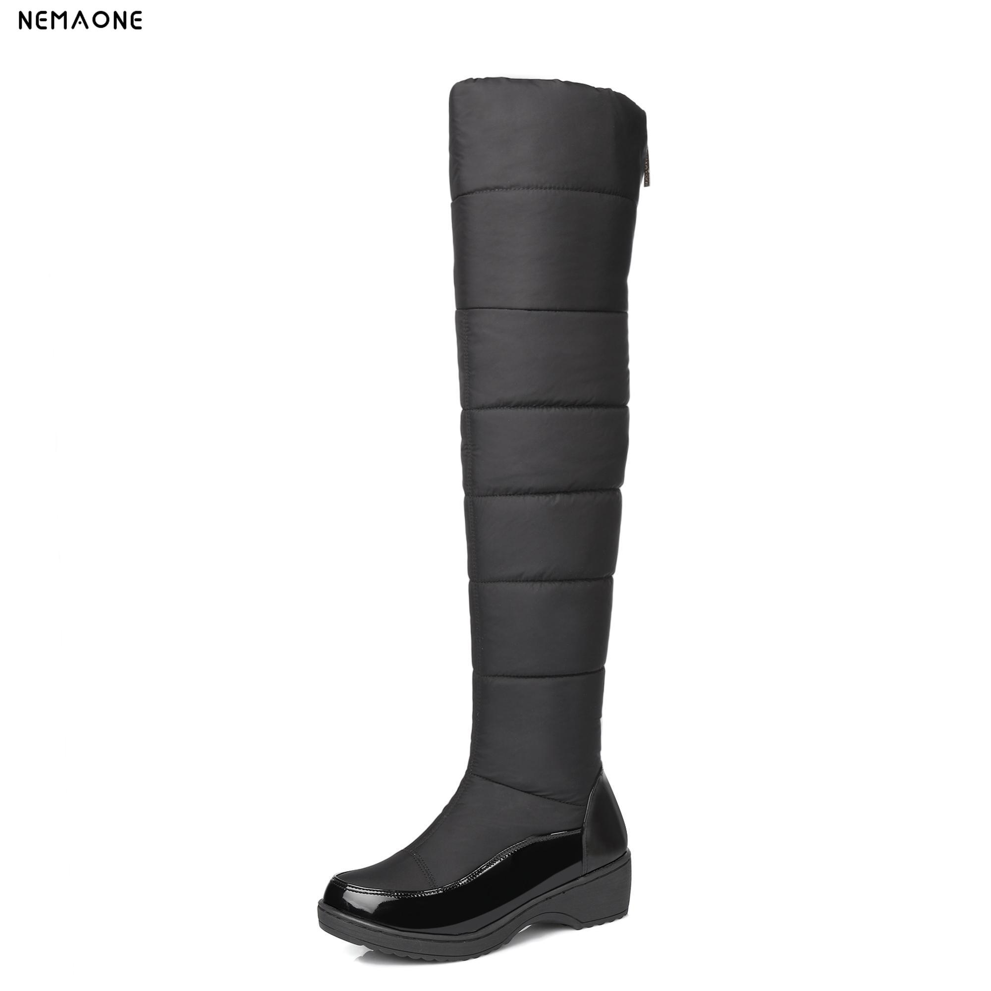 NEMAONE 2017 Winter Autumn New Feathers Knight Knee Boots Women Fashion Slip-On Height Increasing shoes  boots big size 34-40