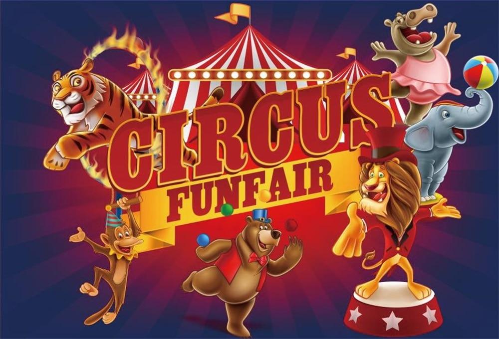 Laeacco Cartoon Animal Circus Cruise Babybarn Fotografiska Bakgrunder - Kamera och foto - Foto 1