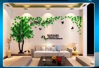 Bladeren vogels crystal driedimensionale boom muurstickers acryl sofa muurstickers decor voor thuis diy zelfklevende verwijderbare