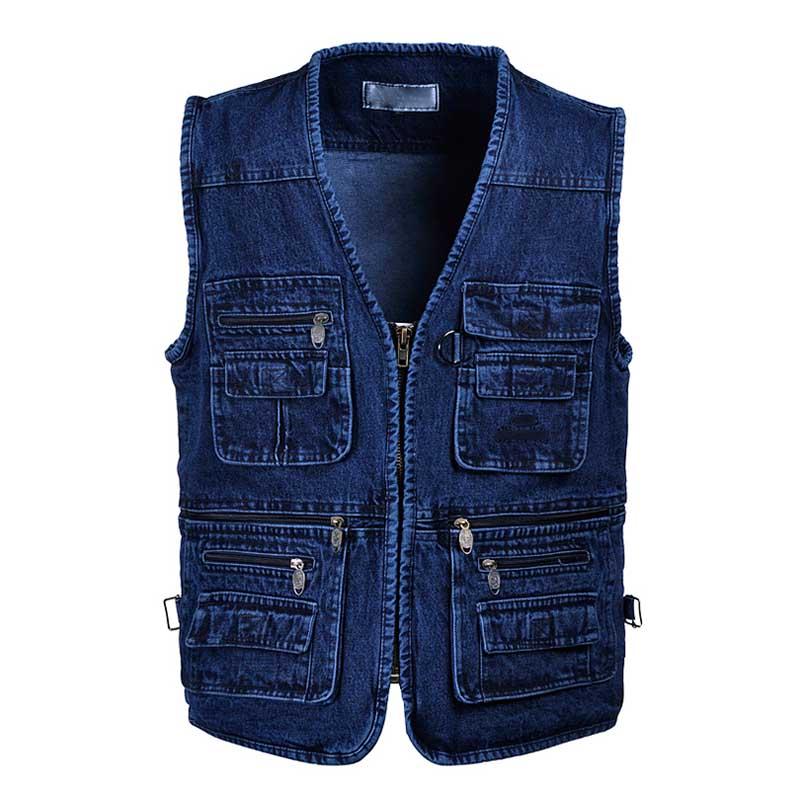 Plus Size 5XL Denim Vest with Multi Pocket Men Casual Outdoor Sleeveless Jeans Vest V Neck Cotton Waistcoat Male Clothing