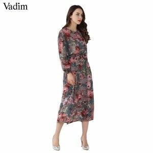 Image 2 - Vadim vrouwen bloemen chiffon jurk twee delige set lange mouwen elastische taille mid calf o hals casual brand jurken vestidos QZ3200