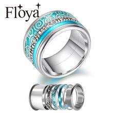 Floya 여성을위한 스테인레스 스틸 반지 교환 할 수있는 회전식 결혼 반지 빅 밴드 Aneis Feminino Anillos Mujer Layers Ring