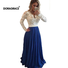 New Fashion Long Sleeve Lace Evening Gowns Dubai Dresses Prom