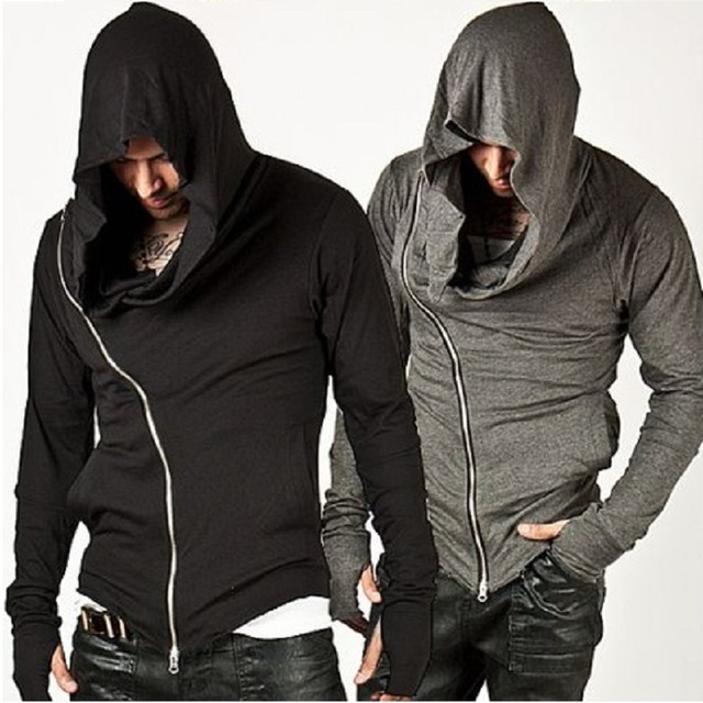 XXL hoodies Men's Hooded With Black Gown Sudaderas Hombre Hip Hop Hoodies and Sweatshirts long Sleeves zipper Jackets Coats