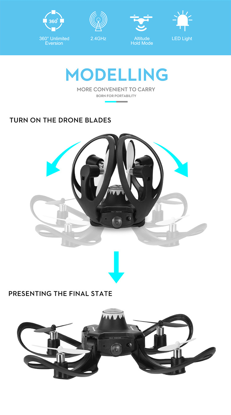 RC Aircraft Sensing Control Helicopter Mini Drone Foldable Arm Glove Gesture  One Key Return Gesture Roll Drone for beginner