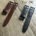 Banda de lujo, nueva 22 mm negro marrón cuero genuino correa de reloj pulsera de la correa correa para iwcwatch con LOGO sin hebilla