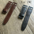 Luxury Band,New 22mm Black Brown Genuine Leather Watch Strap Belt Bracelet Watchband for iwcwatch With LOGO Without Buckle