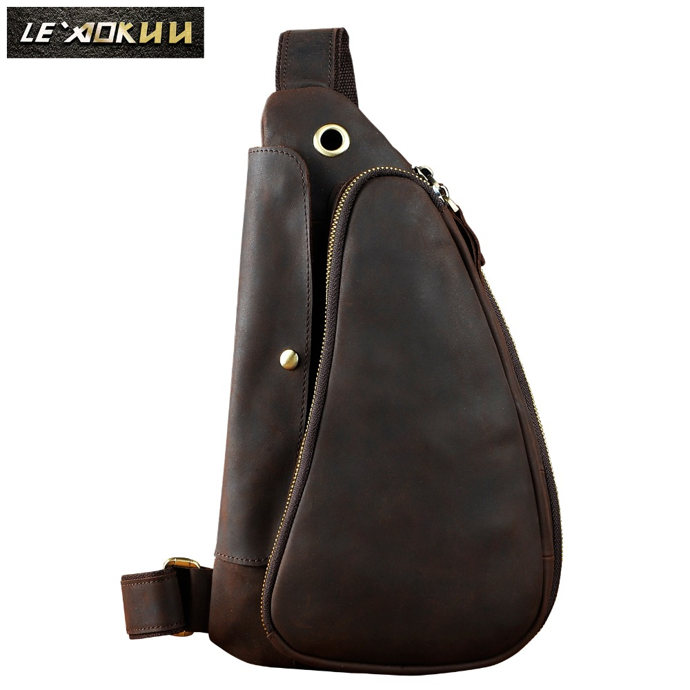 Quality Men Crazy Horse Leather Casual Fashion Waist Pack Chest Sling Bag Design One Shoulder Crossbody Bag For Male 9976-d