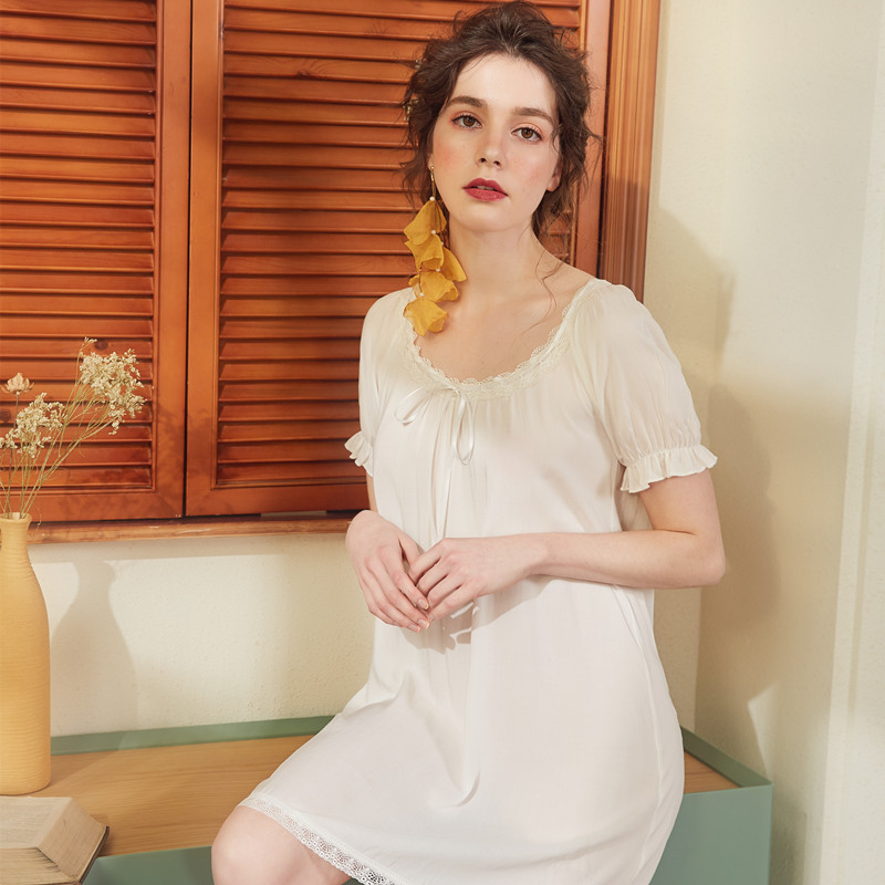 Summer Short Sleeve Women Mini Nightgowns Lace Cotton Nightdress Court Princess Sleeping Dress Sexy Home Dress White Pink Blue