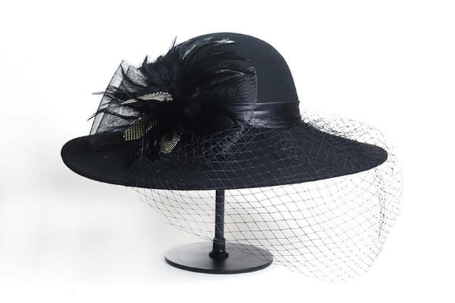 e4c93a75d9eee Elegant Veil Hat Lady Church Sombreros Winter 100% Wool Fedora Hat Women  Black Vintage Wide Brim Felt Hats Cloche Fedora