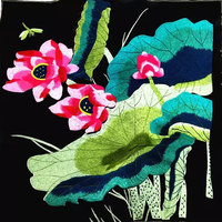 34*36CM Big Square Embroidery Lotus Patch dress shoes bag applique trim boho gypsy sewing novelty DIY ethnic tribal fabric
