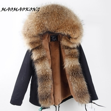 Winter Coat Fur-Collar Real-Raccoon Parkas Outwear Hooded Warm Green Thick Women Camouflage