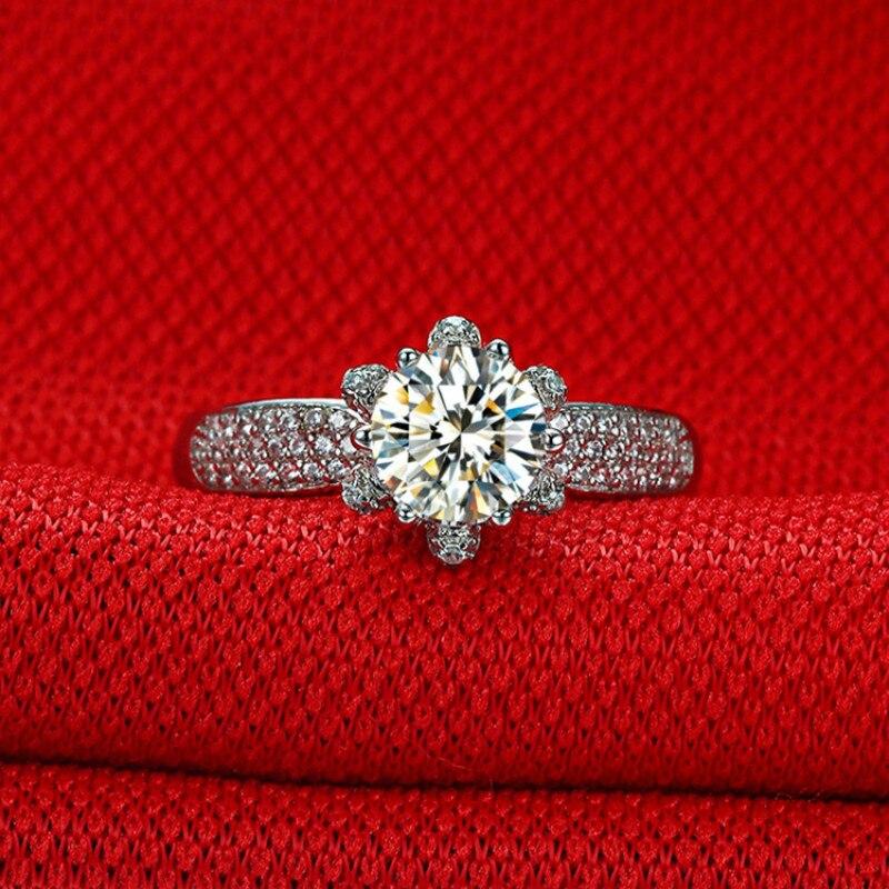 Deluxe 1ct Carct 5A haute qualité NSCD bagues de fiançailles pour les femmes d-color S925 Sterling argent personnalisable bague femelle