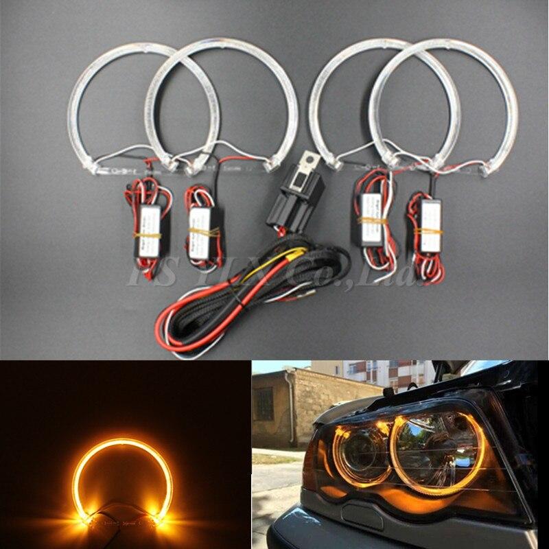 ФОТО 2017 NEW 4*131mm LED Angel Eyes for BMW E46 E39 E38 E36 Projector SMD LED halo rings kit Yellow CREES LED angel eyes for bmw e46