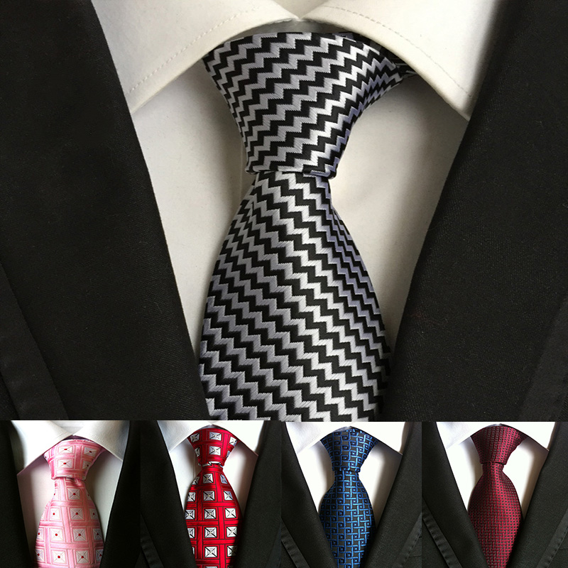 2018 New 18 Colors 8cm Silk Necktie For Man High Quality Plaid&Striped Geometric  Ties Man's Fasion Wedding Party Necktie