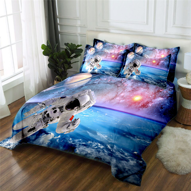 hot sale fashion Astronaut 3D printed polyester bedding set queen king size duvet cover set bed sheet sethot sale fashion Astronaut 3D printed polyester bedding set queen king size duvet cover set bed sheet set