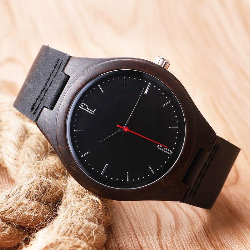 Luxus természet fából készült óra minimalista bambusz fekete - Férfi órák - Fénykép 3