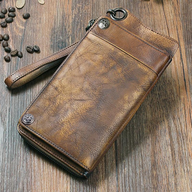 2017 Fashion Vintage Genuine Leather Men Wallet Leather Wallet men purse Long clutch wallet money bag