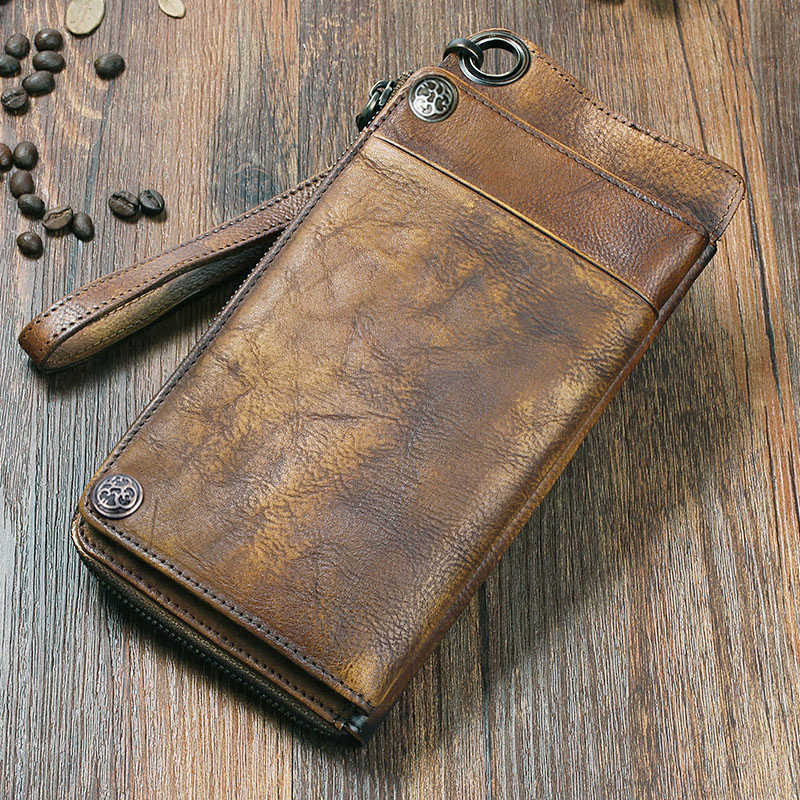 2017 Fashion Vintage Genuine Leather Men Wallet Leather Wallet men purse Long clutch wallet money bag male wallet card holder