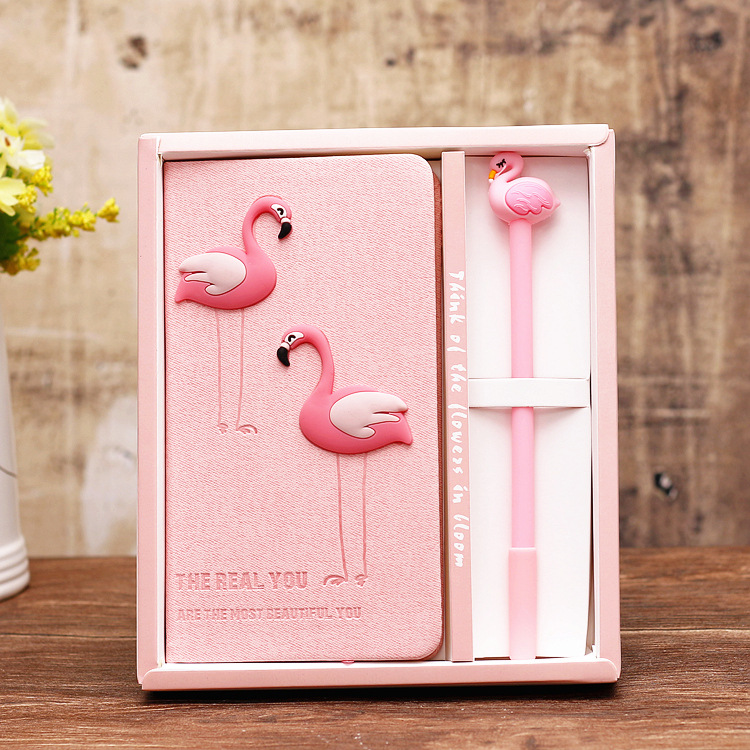 Jonvon Satone Pink Girl Notebook Zakka Lovers Flamingo Notebooks Gift Box Set School Supplies Planners Escolar Stationery Sketch