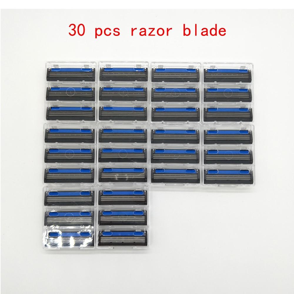 High Quality 30 Pcs/lot Three Layer Razor Blade For Men Safe Shaving Razor 3 Blades Shaver Standard Close Smooth Skin Trimmer