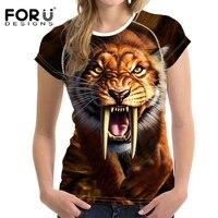 FORUDESIGNS 3D Crazy Tiger T-shirt Vrouwen Stijlvolle Merk Lady Casual Tops Tees Blusa Plus Size Vrouwelijke O Hals T-shirt voor Meisjes