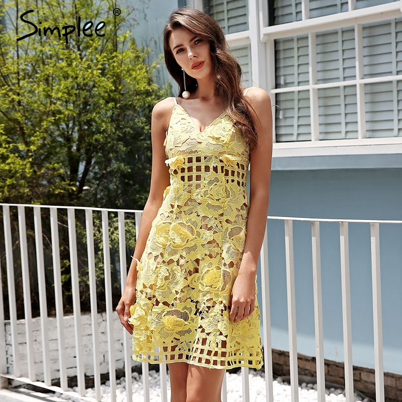 19a32ce82ef1f Simplee Strap hollow out lace dress women Cotton embroidery casual ...
