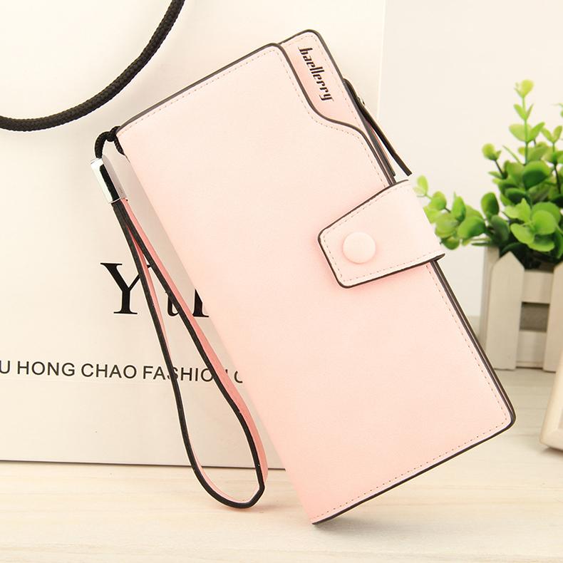 2018 New Wallet Split Leather Wallets Female Long Wallet Women Zipper Purse Money Bag pink one size 10