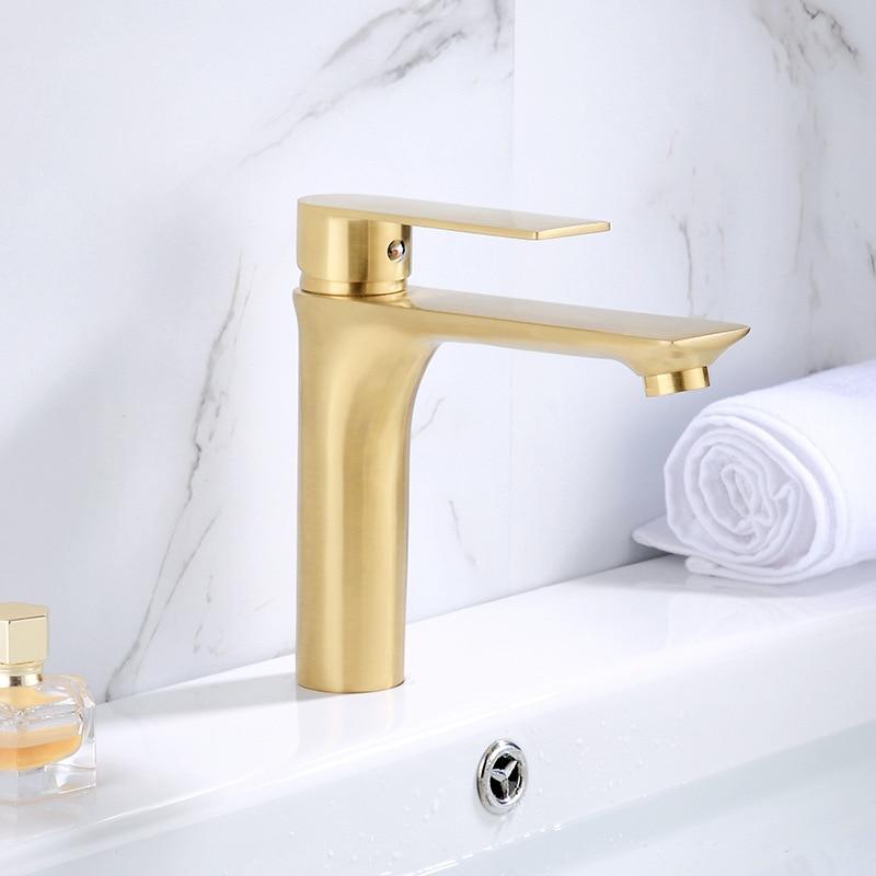 MTTUZK Badezimmer Massivem Messing Gebürstet Gold Wasserhahn Becken Wasserhahn Waschbecken Tap Massivem Messing Wasserhahn Hot & Cold Mixer Wasserhahn Matt gold Kran - 5