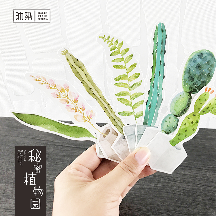 30 Sheets/lot Cute Green Potted Plants Paper Bookmark Cute Diy Book Marker Page Holder Korean Stationery Office School Supplies