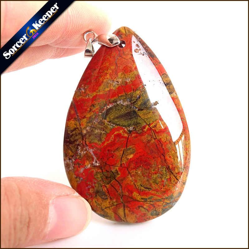 Collares New Mặt Dây Chuyền Vòng Cổ Tinh Thể Đá Tự Nhiên Bloodstone Hạt Mã Não Vòng Cổ & Mặt Dây Thời Trang Bijoux Phụ Nữ WS549
