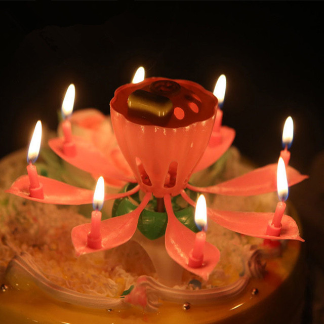 Musical Single Layer Lotus Flower Happy Birthday Party Cake Topper