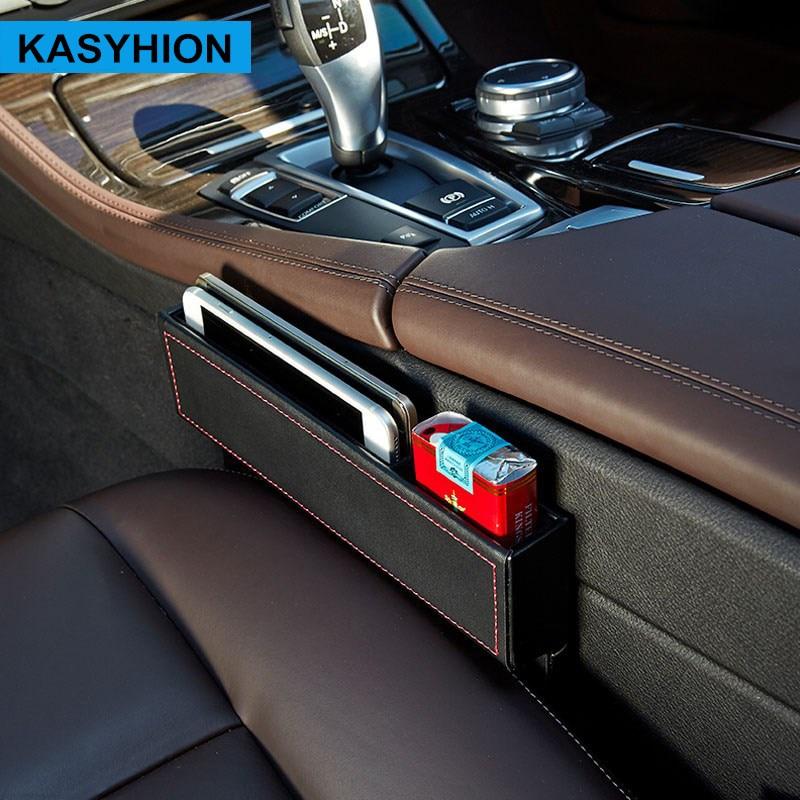 가죽 카시트 틈새 수납함 다목적 자동 틈 주최자 - 자동차 인테리어 용 액세서리 - 사진 2