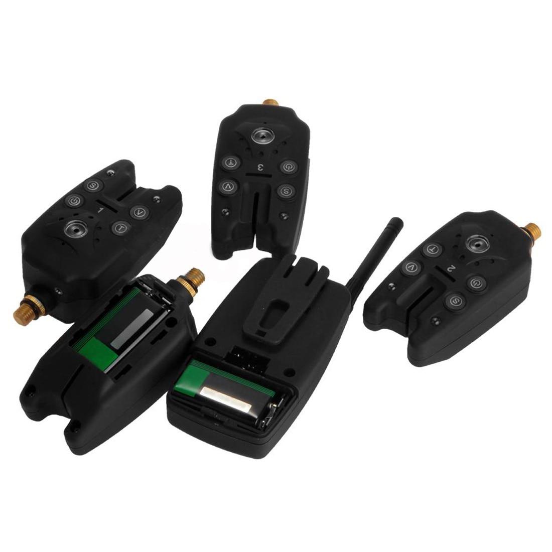 2018 offre spéciale Durable ensemble 4 pièces sans fil bleu LED pêche morsure alerte récepteur noir